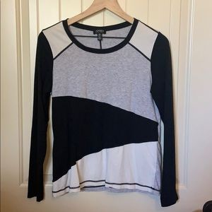 Black White Gray Color Block Long Sleeve Stretchy